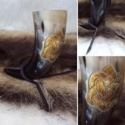 Celtic Knot Drinking Horn With Stand